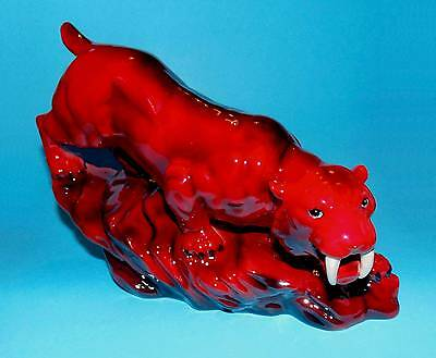 Peggy Davies 'Sabre-Tooth Tiger'  Ruby Fusion (flambe) 1st Quality