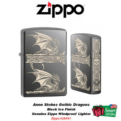 Zippo Anne Stokes Gothic Dragons Lighter, Etched Design, Black Ice #28961