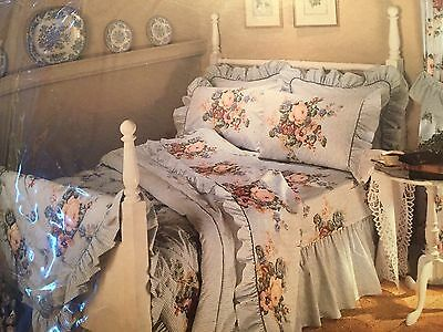 Vintage Queen Sheet Set Shabby Cottage New Made in USA 1990s Spencer Williams
