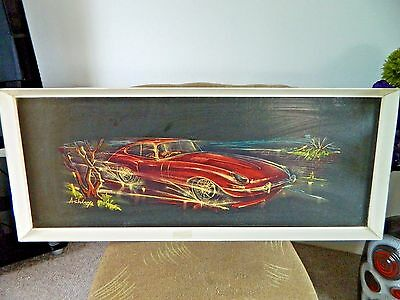 Retro Mid Century Print Stunning E Type Jaguar by Derek Ashley Rare Item! 60's