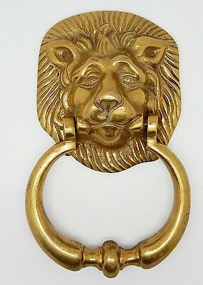 Heavy Vintage English Georgian Style Brass Lion Head Door Knocker