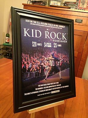 "2 BIG 10x13 FRAMED KID ROCK ""2015 CHEAP DATE TOUR"" LP ALBUM CD PROMO ADS + bonus"