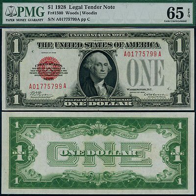 FR. 1500 $1 1928 Legal Tender Gem PMG CU65 EPQ