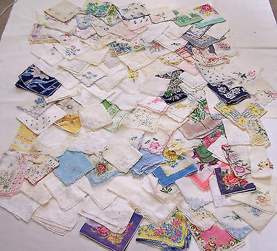Lot of 108 Vintage Hankies Handkerchiefs Floral Lace Embroidery Crochet Trim