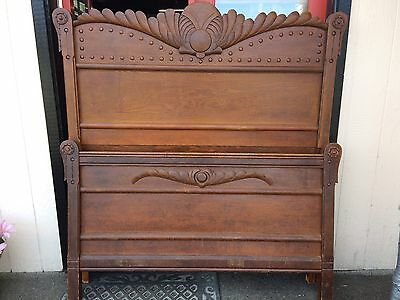 Antique Art Deco Oak High Bed Headboard Footboard Full Ornate Victorian 1800s