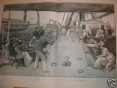 Deck Quoits on a P & O Steamer and other prints 1890
