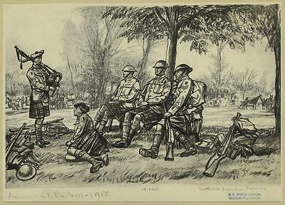 British Army Soldiers Scottish Division France 1917, 6x4 Inch Print Reprint