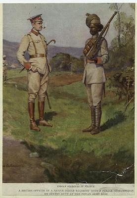 British Army Indian Troops France 1915, 6x4 Inch Print Reprint