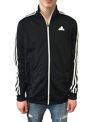 Adidas Boy's Tricot Full Zip Jacket Black/White w/White Zipper