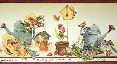 Country Garden Flower Pot Rustic Birdhouses Wallpaper Border Kitchen Wall Decor 8 50 Picclick