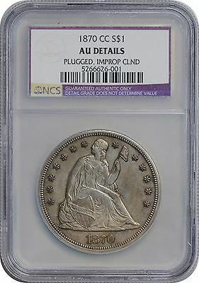 1870-CC Liberty Seated Dollar AU Details (Plugged, Improperly Cleaned) NCS