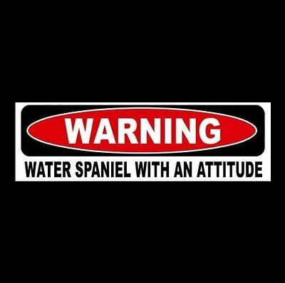 """WARNING: WATER SPANIEL WITH AN ATTITUDE"" decal BUMPER STICKER breed dog puppy"
