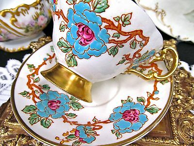 Old Royal tea cup and saucer wide mouth painted pattern teacup floral footed