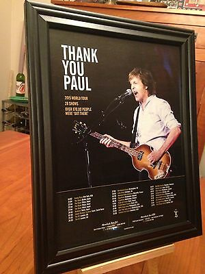 """BIG 10x13 FRAMED PAUL McCARTNEY """"2015 OUT THERE TOUR, 28 SHOWS"""" CONCERT PROMO AD"""