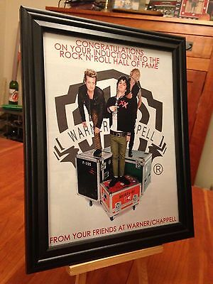 """BIG 10x13 FRAMED GREEN DAY """"IN ROCK & ROLL HALL OF FAME"""" LP ALBUM CD PROMO AD"""