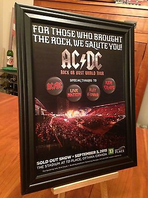 "BIG 10x13 FRAMED AC/DC AC-DC ""LIVE IN OTTAWA 9/13/15 ROCK OR BUST"" TOUR PROMO AD"