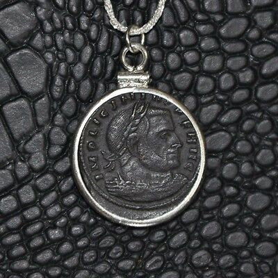 Roman Emperor Licinius Authentic Ancient Coin Charm 925 Sterling Silver Necklace