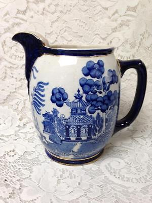 Antique, Rare, 1905 Buffalo Pottery, 8in x 8in Blue Willow Pitcher