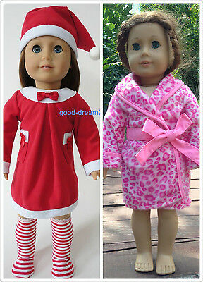 """2 suits American girl 18"""" Doll Clothes dress pajamas sleep coat 6pc"""