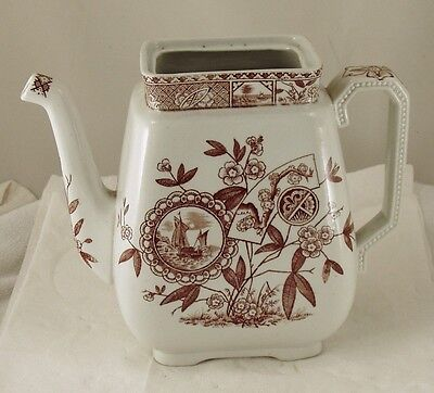 "Aesthetic Movement Brown Tranferware  Tea Pot  ""Sitka"" T. Hughes Burslem"