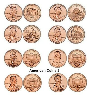 P + D 2009 to 2013 *SET OF 16* 1 Cent LINCOLN BICENTENNIAL & SHIELD UNC