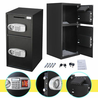 Depository Safe Double Door Digital Drop Safe Cash Box For Home Office Security