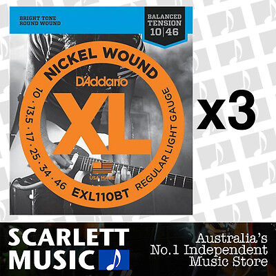 3x D'Addario EXL110BT Balanced Tension Strings 10-46 Daddario *SET OF 3 PACKS*