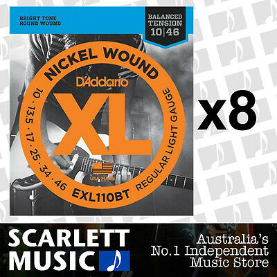 8x D'Addario EXL110BT Balanced Tension Strings 10-46 Daddario *SET OF 8 PACKS*