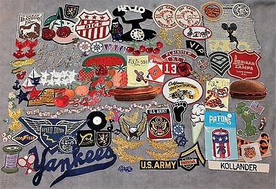 Vintage 1960-70's Lot Of 100+ Patches Funky/military/fruit/auto & More