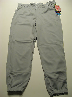 NEW Womens Softball Pants XL Gray Low Rise No Rollover Waistband Quality XLarge