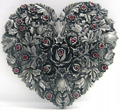 Buckle as Heart with Rose petals and Branch, Gothic, Belt Buckle