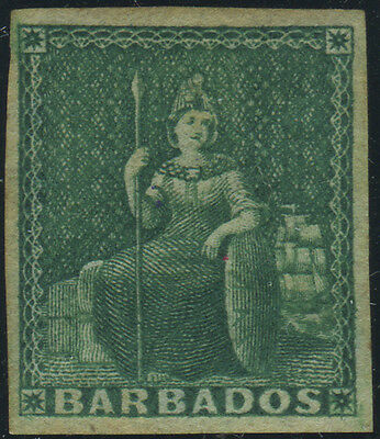 Barbados, SG 8, 1855 White Paper Imperf (½d) green m/m with 4 margins, Cat £190.