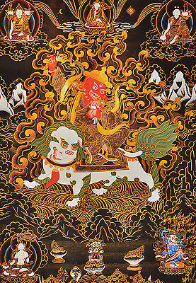 "32"" Silk Brocade Wood Scroll Tibet Tangka Thangka: Nyingma Protector Dorje Legpa"