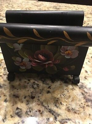 Vintage Black Metal Napkin Holder-Fine Art Studio Hand Painted