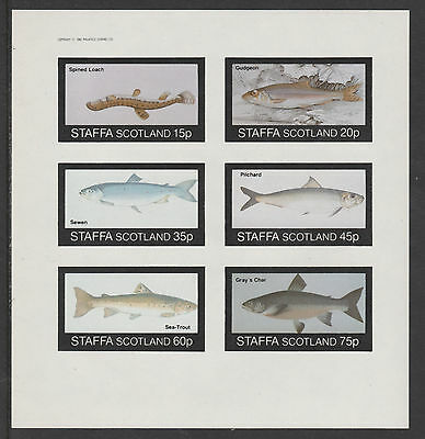 GB Locals - Staffa 3529 - 1982  FISH  imperf sheet of 6 unmounted mint
