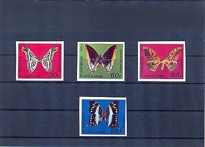 IVORY COAST 1977 Butterflies issue imperforate. VF and RRR.
