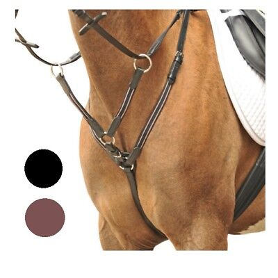 HKM Hand Sewn Leather Breastplate Martingale | Elastic Inserts | Silver Fittings