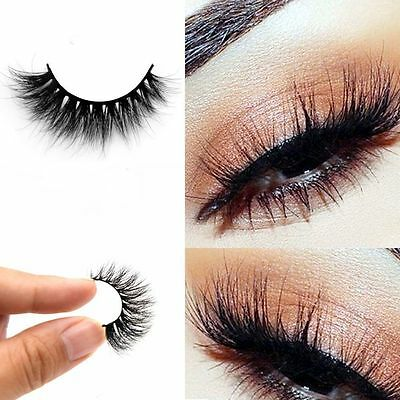 100% Real 3D Mink Makeup Cross False Eyelashes Eye Lashes Extension Handmade