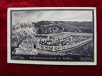WW1 German Military Postcard/Feldpost Soldier's cemetery in Ailles (France) 1916