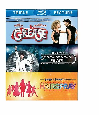 Grease/Saturday Night Fever/Hairspray (Blu-ray Disc, 2014, 3-Disc Set) BRAND NEW
