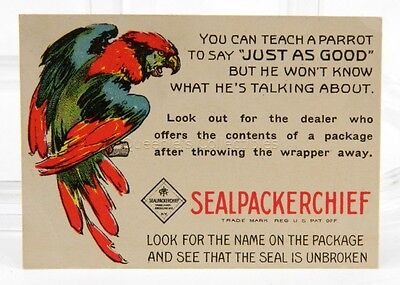 1918 Trade Card with Parrot and Calendar for Sealpackerchief