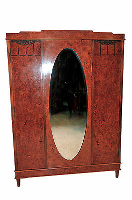 Antique Art Deco French Walnut Burl Wood Armoire, Great Storage