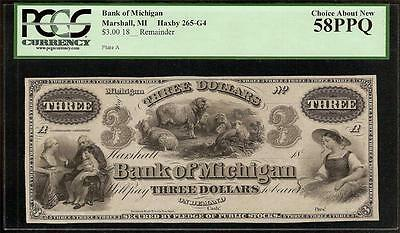 1860s $3 THREE DOLLAR BILL MICHIGAN BANK NOTE CURRENCY BEN FRANKLIN PCGS 58 PPQ