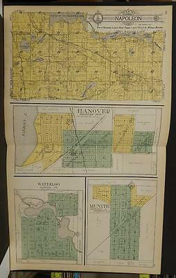 Michigan Jackson County Map Napolean Hanover Township  1911  Double Pg Y10#06