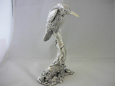 Stunning Large Hallmarked Sterling Silver Sitting Kingfisher Sculpture/Statue