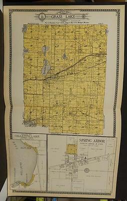 Michigan Jackson County Map  Grass Lake Township 1911  Double Pg Y10#09