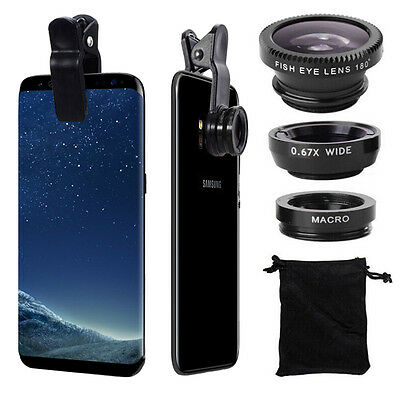 Fish Eye+Wide Angle+Macro Camera Clip-on Lens for Samsung Galaxy S7/Edge S8/Plus