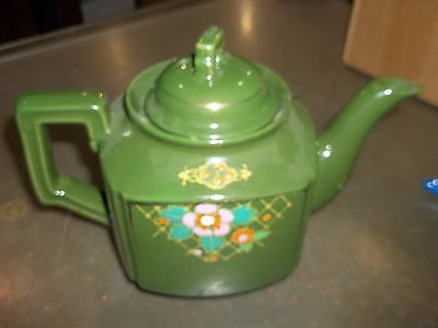 Vintage Green Teapot With Flowers Made In Japan (X2)