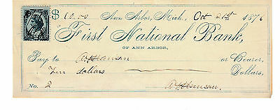 1876 Antique Check  First National Bank, Ann Arbor, Michigan    Revenue