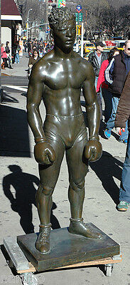 "LIFESIZE BRONZE BOXER 66""h DISPLAY FROM OLD MADISON SQUARE GARDEN LOBBY"